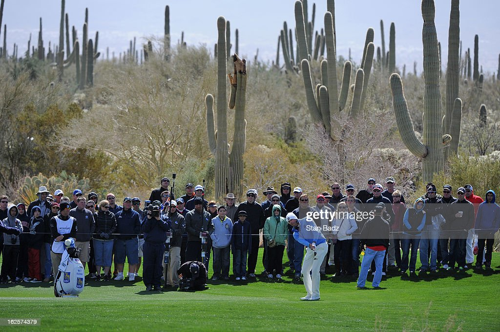 Matt Kuchar chips onto the fourth green during the final round of the World Golf Championships-Accenture Match Play Championship at The Golf Club at Dove Mountain on February 24, 2013 in Marana, Arizona.