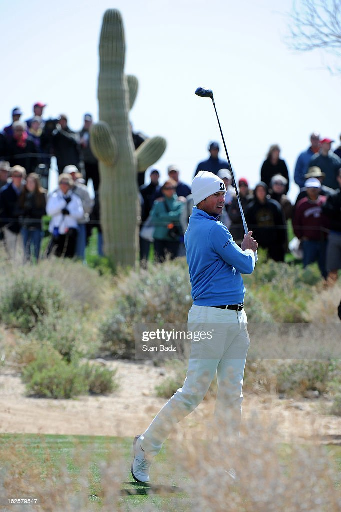 Matt Kuchar hits a drive on the fifth hole during the final round of the World Golf Championships-Accenture Match Play Championship at The Golf Club at Dove Mountain on February 24, 2013 in Marana, Arizona.