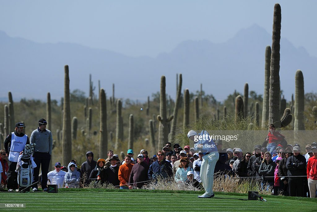 Matt Kuchar hits a shot on the sixth hole during the final round of the World Golf Championships-Accenture Match Play Championship at The Golf Club at Dove Mountain on February 24, 2013 in Marana, Arizona.