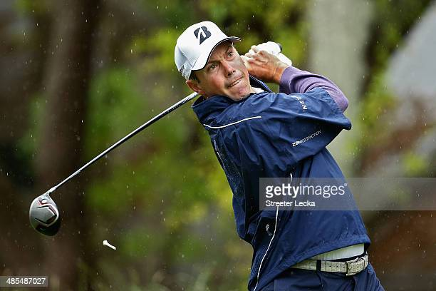 Matt Kuchar hits a tee shot on the 2nd hole during the second round of the RBC Heritage at Harbour Town Golf Links on April 18 2014 in Hilton Head...