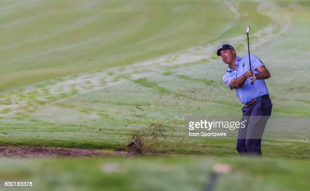Matt Kuchar hits from the pinestraw on the 10th hole during the second round of the PGA Championship on August 11 2017 at Quail Hollow Golf Club in...