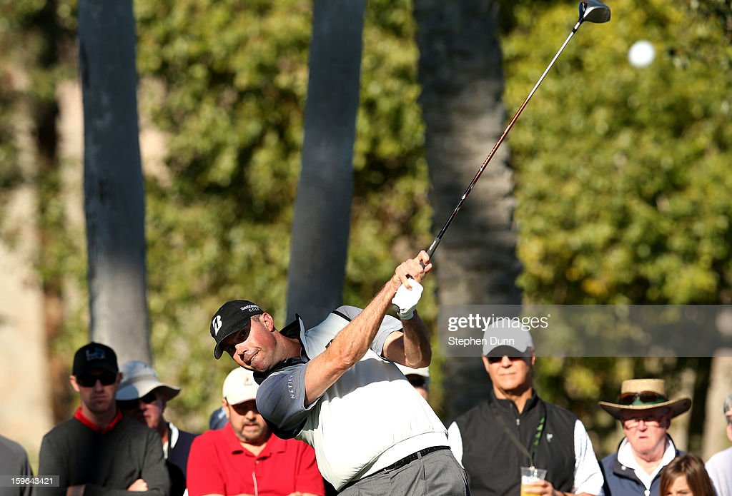 Matt Kuchar hits his tee shot on the second hole during the first round of the Humana Challenge in partnership with the Clinton Foundation at La Quinta Country Club on January 17, 2013 in La Quinta, California.