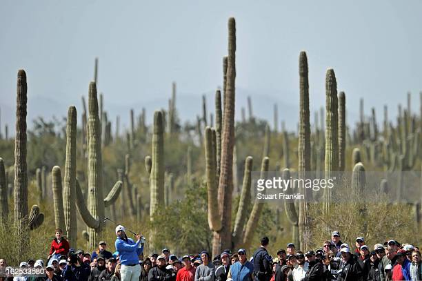 Matt Kuchar hits his tee shot on the sixth hole during the final round of the World Golf Championships Accenture Match Play at the Golf Club at Dove...