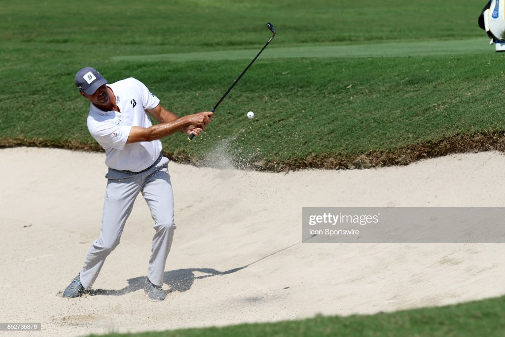 Matt Kuchar hits out of the bunker during the second round of the PGA Tour Championship on September 22, 2017 at East Lake Golf Club in Atlanta, Georgia.