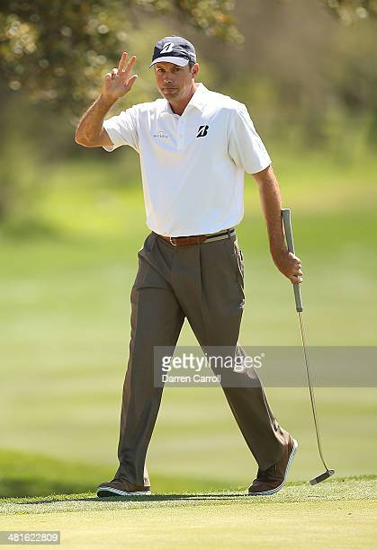 Matt Kuchar makes birdie on the 8th during the Final Round of the Valero Texas Open at TPC San Antonio ATT Oaks Course on March 30 2014 in San...