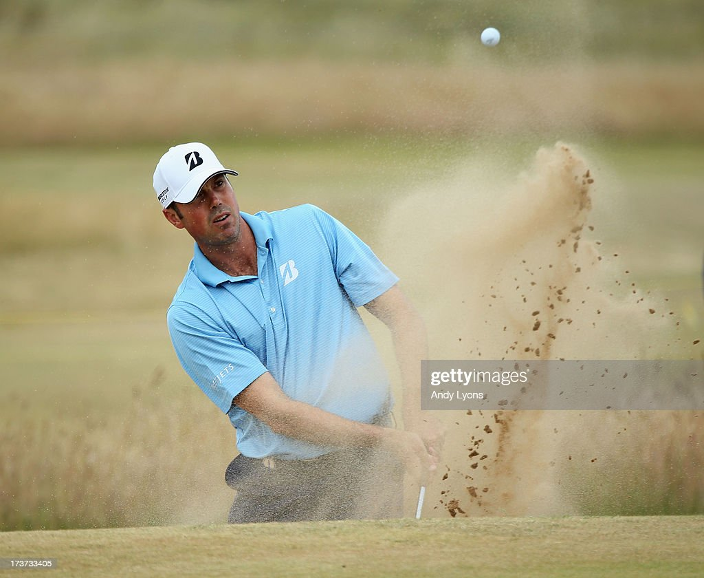 Matt Kuchar of the United States hits a shot ahead of the 142nd Open Championship at Muirfield on July 17, 2013 in Gullane, Scotland.