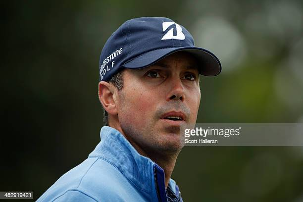 Matt Kuchar of the United States looks on after his tee shot on the eighth hole during round three of the Shell Houston Open at the Golf Club of...