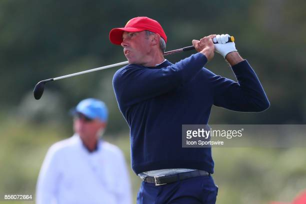 Matt Kuchar of the United States on the 14th hole during Saturday foursome matches of the Presidents Cup at Liberty National Golf Club on September...
