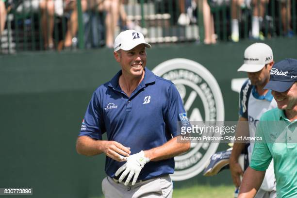 Matt Kuchar of the United States on the first tee during Round Three for the 99th PGA Championship held at Quail Hollow Club on August 12 2017 in...