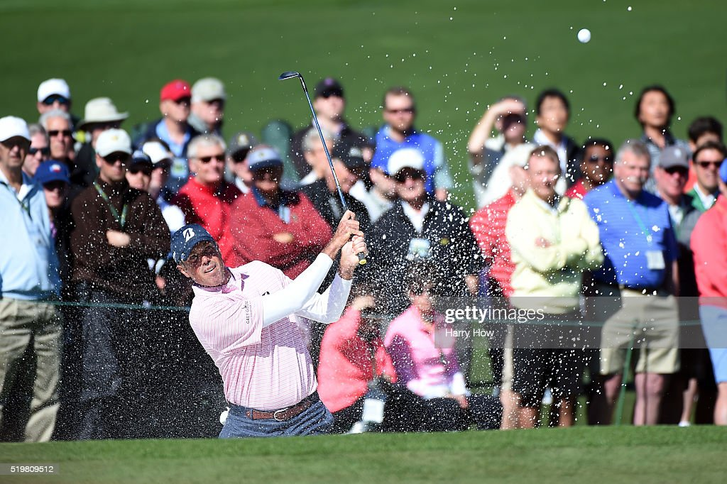 Matt Kuchar of the United States plays a shot from a bunker on the second hole during the second round of the 2016 Masters Tournament at Augusta...