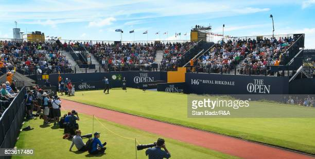 Matt Kuchar of the United States plays a shot on the first hole during the final round of the 146th Open Championship at Royal Birkdale on July 23...