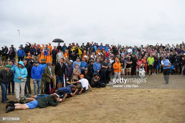 Matt Kuchar of the United States plays his second shot on the 10th hole during the final round of the 146th Open Championship at Royal Birkdale on...