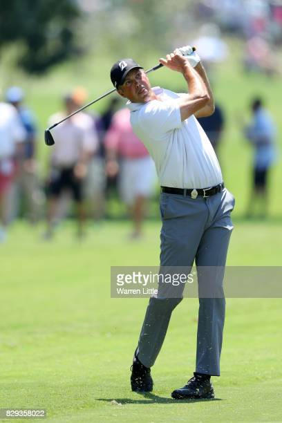 Matt Kuchar of the United States plays his second shot on the second hole during the first round of the 2017 PGA Championship at Quail Hollow Club on...