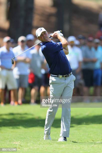 Matt Kuchar of the United States plays his second shot on the second hole during the third round of the 2017 PGA Championship at Quail Hollow Club on...
