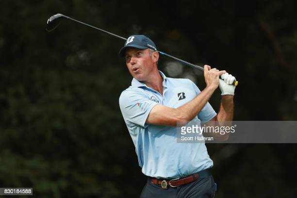 Matt Kuchar of the United States plays his shot from the 12th tee during the second round of the 2017 PGA Championship at Quail Hollow Club on August...