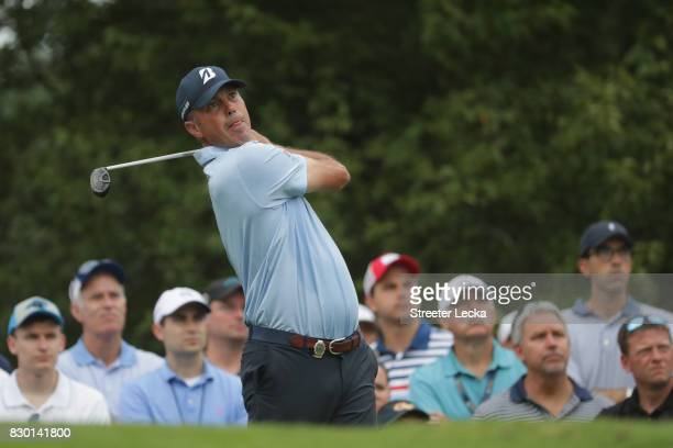 Matt Kuchar of the United States plays his shot from the 13th tee during the second round of the 2017 PGA Championship at Quail Hollow Club on August...
