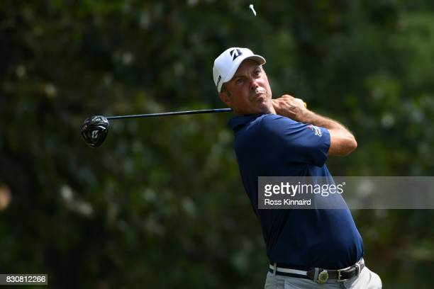 Matt Kuchar of the United States plays his shot from the 15th tee during the third round of the 2017 PGA Championship at Quail Hollow Club on August...