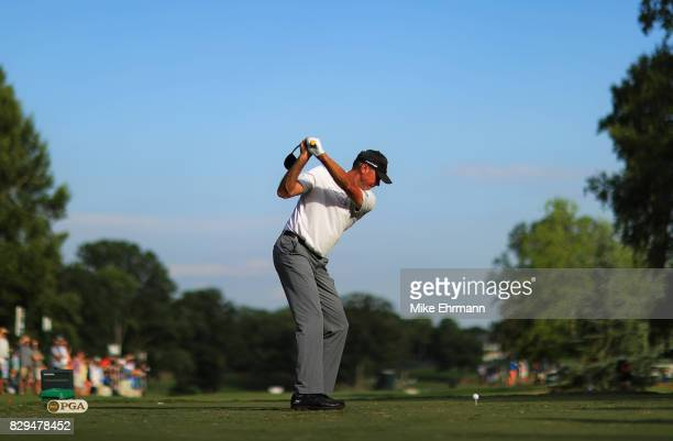 Matt Kuchar of the United States plays his shot from the 16th tee during the first round of the 2017 PGA Championship at Quail Hollow Club on August...