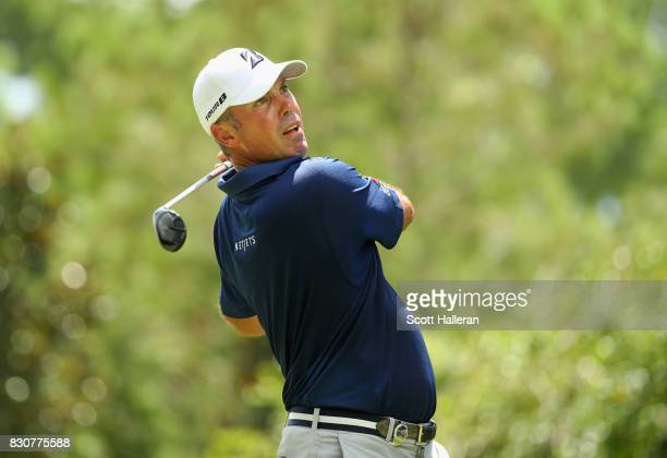 Matt Kuchar of the United States plays his shot from the sixth tee during the third round of the 2017 PGA Championship at Quail Hollow Club on August...