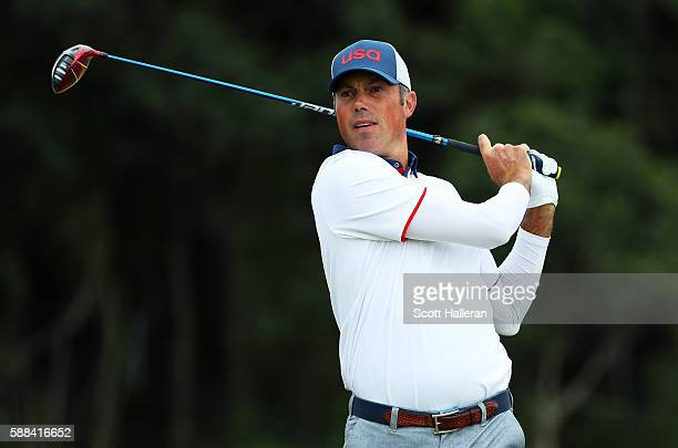 Matt Kuchar of the United States plays his shot from the third tee during the first round of men's golf on Day 6 of the Rio 2016 Olympics at the...
