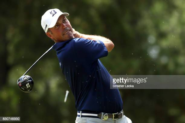 Matt Kuchar of the United States plays his shot from the third tee during the third round of the 2017 PGA Championship at Quail Hollow Club on August...