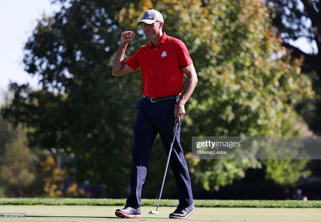 Matt Kuchar of the United States reacts after a putt on the 14th green to end the match during morning foursome matches of the 2016 Ryder Cup at Hazeltine National Golf Club on September 30, 2016 in Chaska, Minnesota.