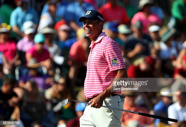 Matt Kuchar of the United States reacts during the final round of THE PLAYERS Championship at the Stadium course at TPC Sawgrass on May 15 2016 in...