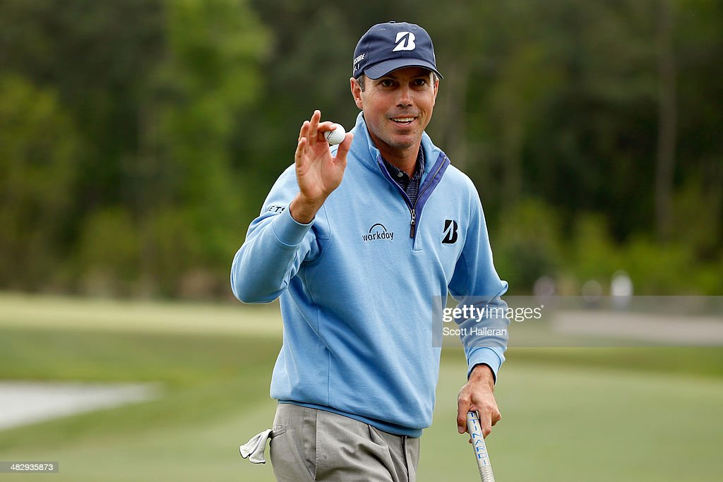 Matt Kuchar of the United States reacts on the green after putting for birdie on the twelfth hole during round three of the Shell Houston Open at the Golf Club of Houston on April 5, 2014 in Humble, Texas.