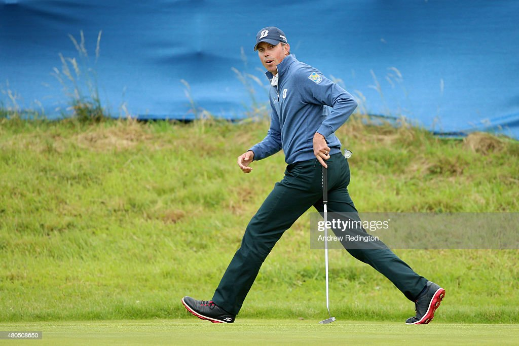 Matt Kuchar of the United States reacts to a missed putt on the 17th hole during the final round of the Aberdeen Asset Management Scottish Open at...