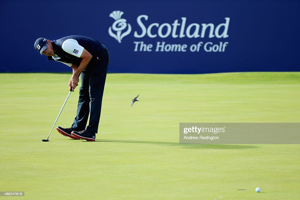 <a gi-track='captionPersonalityLinkClicked' href=/galleries/search?phrase=Matt+Kuchar&family=editorial&specificpeople=243226 ng-click='$event.stopPropagation()'>Matt Kuchar</a> of the United States reacts to his putt on the 18th green during the second round of the Aberdeen Asset Management Scottish Open at Gullane Golf Club on July 10, 2015 in Gullane, East Lothian, Scotland.