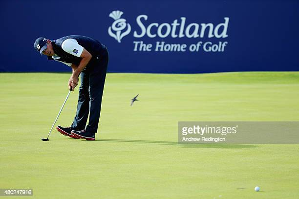 Matt Kuchar of the United States reacts to his putt on the 18th green during the second round of the Aberdeen Asset Management Scottish Open at...