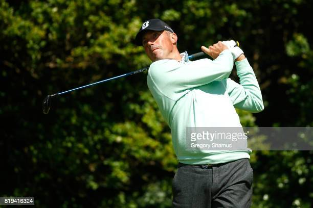 Matt Kuchar of the United States tees off on the 5th hole during the first round of the 146th Open Championship at Royal Birkdale on July 20 2017 in...
