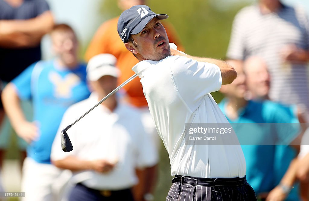 Matt Kuchar of the United States watches his tee shot on the second hole during the final round of The Barclays at Liberty National Golf Club on...