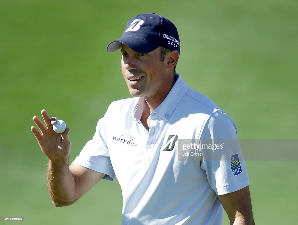 Matt Kuchar of the United States waves to the gallery after making his birdie putt on the sixth hole during round three of the Humana Challenge in...