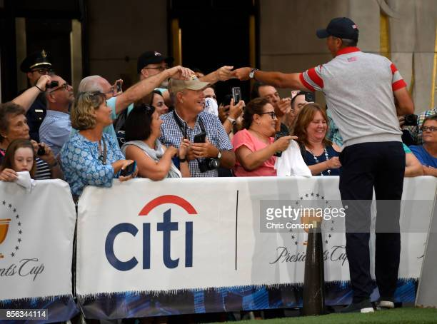 Matt Kuchar of the US Team greets fans on the Today Show prior to the start of the Presidents Cup at Liberty National Golf Club on September 26 in...