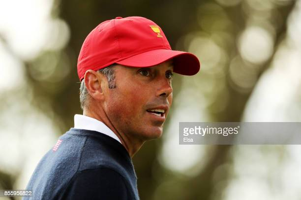 Matt Kuchar of the US Team looks on during Saturday foursome matches of the Presidents Cup at Liberty National Golf Club on September 30 2017 in...