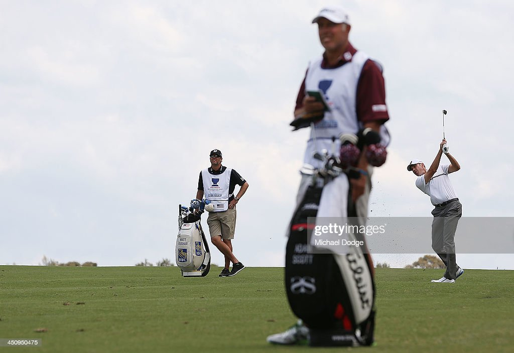 Matt Kuchar of the USA hits an approach shot during day one of the World Cup of Golf at Royal Melbourne Golf Course on November 21, 2013 in Melbourne, Australia.