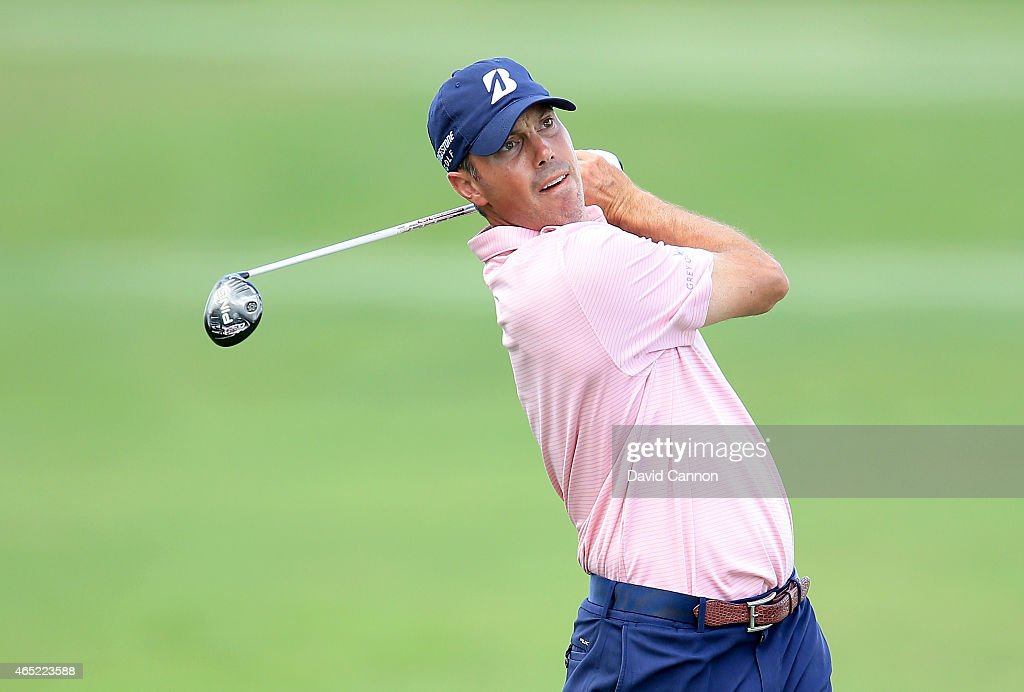<a gi-track='captionPersonalityLinkClicked' href=/galleries/search?phrase=Matt+Kuchar&family=editorial&specificpeople=243226 ng-click='$event.stopPropagation()'>Matt Kuchar</a> of the USA in action during his practice round as a preview for the Cadillac Championship held on the Blue Monster Course at Trump National Doral on March 4, 2015 in Doral, Florida.