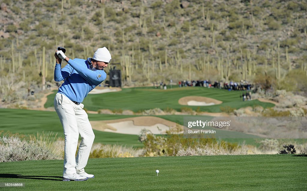 Matt Kuchar of USA plays his tee shot on the 15th hole during the final round of the World Golf Championships - Accenture Match Play at the Golf Club at Dove Mountain on February 24, 2013 in Marana, Arizona.