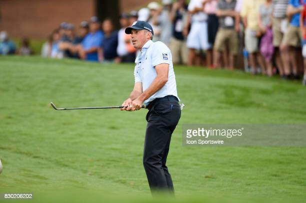 Matt Kuchar on the 10th hole during 2nd round action at the PGA Championship at the Quail Hollow Club on August 11 2017 in Charlotte NC