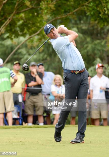 Matt Kuchar on the 11th tee during 2nd round action at the PGA Championship at the Quail Hollow Club on August 11 2017 in Charlotte NC