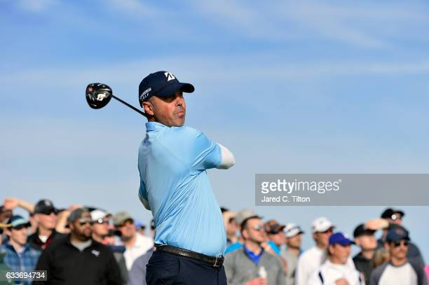 Matt Kuchar plays his tee shot on the 15th hole during the second round of the Waste Management Phoenix Open at TPC Scottsdale on February 3 2017 in...