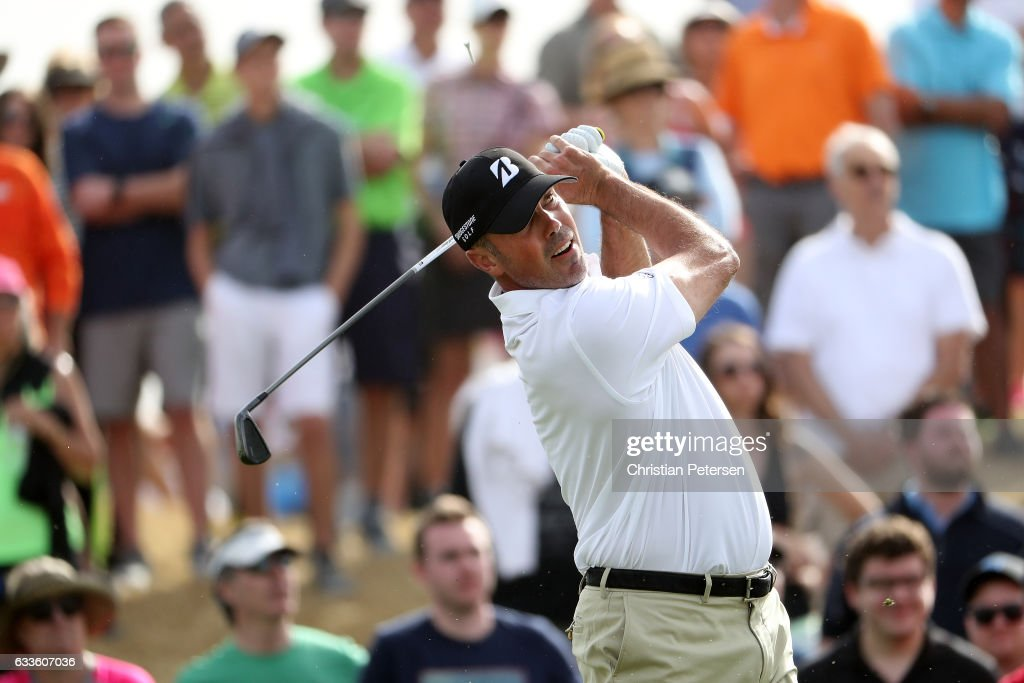 Matt Kuchar plays his tee shot on the seventh hole during the first round of the Waste Management Phoenix Open at TPC Scottsdale on February 2, 2017 in Scottsdale, Arizona.