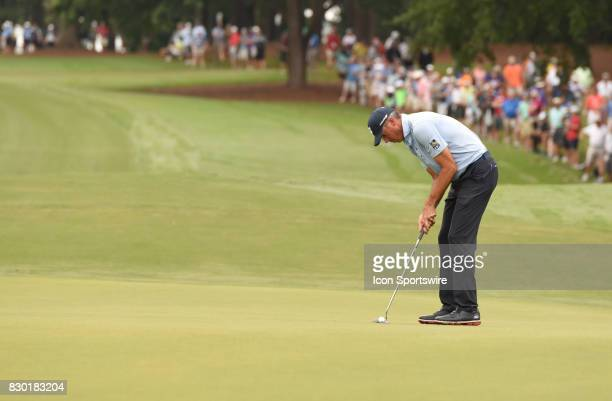 Matt Kuchar putts on the 10th hole during the second round of the PGA Championship on August 11 2017 at Quail Hollow Golf Club in Charlotte NC