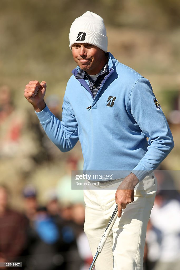Matt Kuchar reacts after he made a birdie putt on the 12th hole green during the final round of the World Golf Championships Accenture Match Play at...