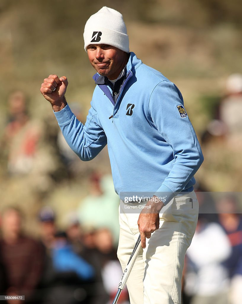 Matt Kuchar reacts after he made a birdie putt on the 12th hole during the final round of the World Golf Championships - Accenture Match Play at the Golf Club at Dove Mountain on February 24, 2013 in Marana, Arizona.