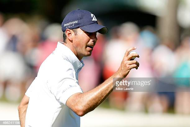Matt Kuchar reacts after putting on the 16th green during the third round of the Valspar Championship at Innisbrook Resort Copperhead Course on March...