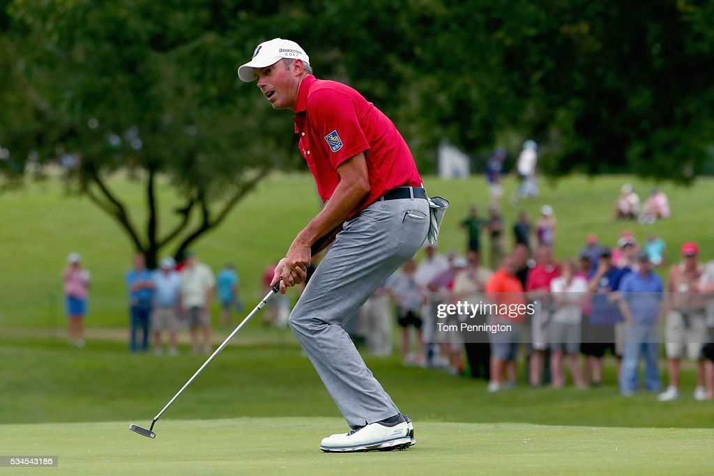 <a gi-track='captionPersonalityLinkClicked' href=/galleries/search?phrase=Matt+Kuchar&family=editorial&specificpeople=243226 ng-click='$event.stopPropagation()'>Matt Kuchar</a> reacts to a putt on the 11th green during the First Round of the DEAN & DELUCA Invitational at Colonial Country Club on May 26, 2016 in Fort Worth, Texas.
