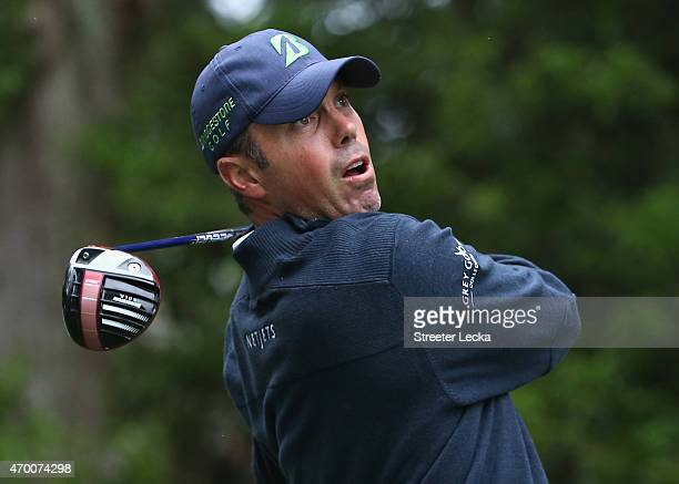 Matt Kuchar reacts to a tee shot on the 15th hole during the second round of the RBC Heritage at Harbour Town Golf Links on April 17 2015 in Hilton...