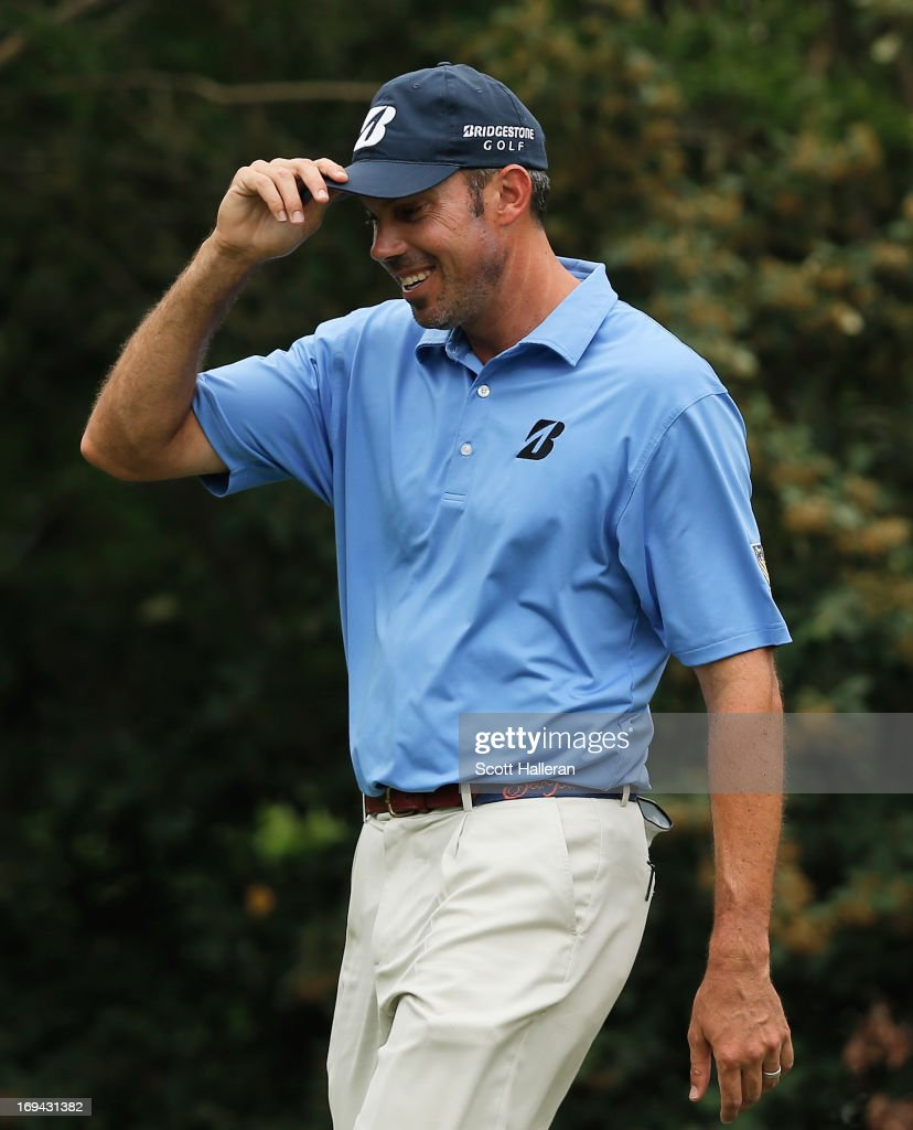 <a gi-track='captionPersonalityLinkClicked' href=/galleries/search?phrase=Matt+Kuchar&family=editorial&specificpeople=243226 ng-click='$event.stopPropagation()'>Matt Kuchar</a> smiles as he walks onto the fourth hole during the second round of the Crowne Plaza Invitational at Colonial at Colonia Country Club on May 24, 2013 in Fort Worth, Texas.